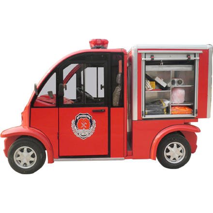 Electric fire truck, built on golf cart or shuttle bus on electric golf cart skateboard, electric golf cart bus, electric golf cart racing,